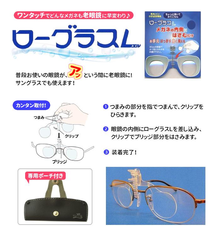 クリップ式老眼鏡 ローグラスL